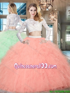 Lovely Two Piece Beaded and Ruffled Quinceanera Dress in Tulle and Lace