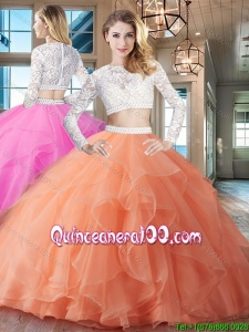 Luxurious Two Piece See Through Scoop Quinceanera Dress with Brush Train
