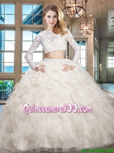 Modern Ruffled Long Sleeves White Quinceanera Dress in Organza and Lace