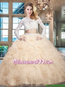Most Popular Long Sleeves Organza Laced Quinceanera Dress in Champagne