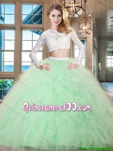 Pretty Zipper Up Long Sleeves Ruffled Quinceanera Dress in Apple Green