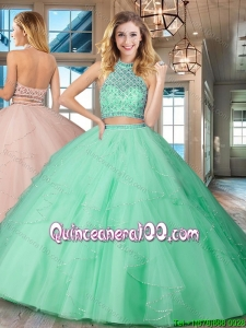 Affordable Two Piece Halter Top Backless Mint Quinceanera Dress in Tulle