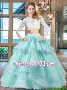 Beautiful Long Sleeves Tulle Quinceanera Dress with Ruffled Layers and Lace