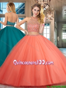 Best Selling Two Piece Halter Top Backless Quinceanera Dress with Beading