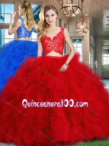 Best Selling Two Piece Ruffled and Laced Red Quinceanera Dress in Tulle