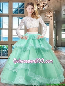 Best Two Piece Laced and Ruffled Layers Quinceanera Dress in Apple Green