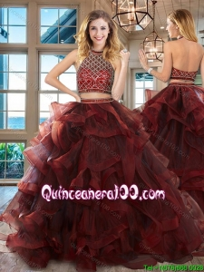 Cheap Ruffled and Beaded Brush Train Tulle Quinceanera Dress in Burgundy
