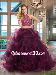 Classical Two Piece Dark Purple Halter Top Ruffled and Beaded Bodice Sweet 16 Dress