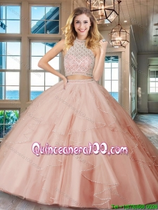 Designer Backless Ruffled and Beaded Bodice Quinceanera Dress in Light Pink