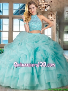 Elegant Halter Top Beaded and Bubble Quinceanera Dress with Ruffled Layers