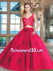 Exclusive Two Piece Applique and Laced V Neck Quinceanera Dress in Tulle