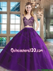 Exquisite Zipper Up V Neck Applique and Laced Quinceanera Gown in Purple