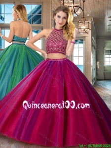 Fashionable Backless Halter Top Fuchsia Quinceanera Dress with Brush Train