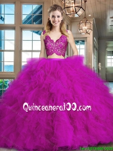 Fashionable Laced Zipper Up Fuchsia Tulle Quinceanera Dress with Brush Train