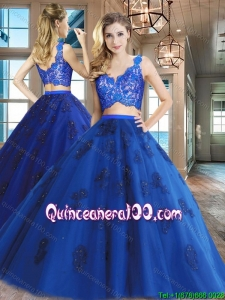 Gorgeous V Neck Royal Blue Quinceanera Dress with Appliques and Lace