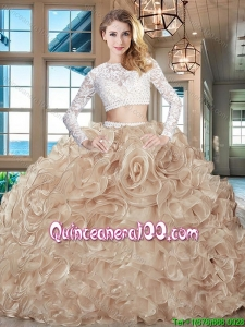 Hot Sale Two Piece Brush Train Laced Organza Sweet 16 Dress in Champagne