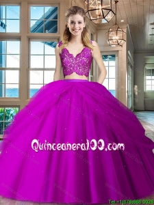 Hot Sale V Neck Fuchsia Quinceanera Dress with Ruffled Layers and Lace