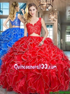 Latest Two Piece Ruffled and Laced Bodice Red Quinceanera Dress in Organza