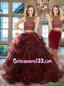 Lovely Halter Top Burgundy Tulle Detachable Quinceanera Gown with Ruffles and Beading