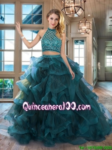 Luxurious Backless Beaded Decorated Halter Top Quinceanera Dress with Brush Train