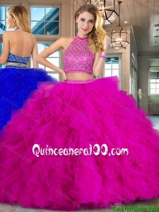 Modest Beaded Bodice and Ruffled Tulle Quinceanera Dress with Brush Train