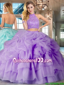 Most Popular Two Piece Lavender Brush Train Quinceanera Dress with Beading and Bubbles