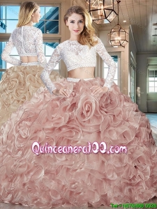 New Arrivals Laced Bodice and Ruffled Long Sleeves Sweet 16 Dress with Brush Train