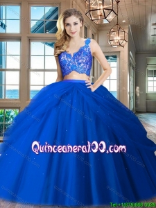 New Arrivals V Neck Zipper Up Tulle Quinceanera Dress in Royal Blue