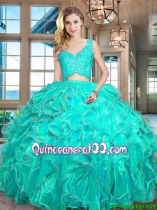 New Style Organza Turquoise Quinceanera Dress with Laced Bodice and Ruffles