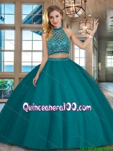 Perfect Beaded Decorated Halter Top and Bodice Teal Sweet 16 Dress in Tulle