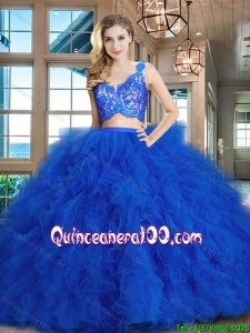 Perfect Brush Train Ruffled and Laced Tulle Quinceanera Dress in Royal Blue