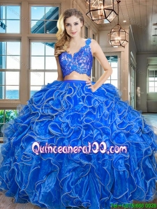 Popular Organza Laced Bodice Zipper Up Quinceanera Dress with Ruffles
