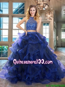 Pretty Two Piece Ruffled and Beaded Royal Blue Quinceanera Dress with Brush Train
