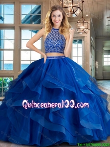 Romantic Halter Top Tulle Brush Train Quinceanera Dress in Royal Blue
