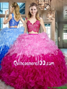 Romantic Two Piece Organza Two Tone Quinceanera Dress with Ruffles and Lace