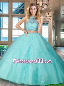 Simple Puffy Skirt Aqua Blue Quinceanera Dress with Ruffles and Beading