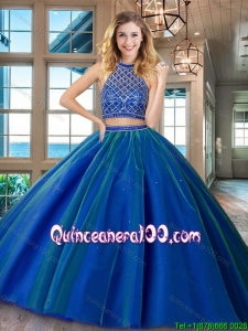 Top Seller Two Piece Brush Train Tulle Quinceanera Dress in Royal Blue