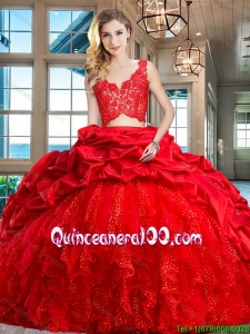Top Seller Two Piece Ruffled Bubble Brush Train Quinceanera Dress in Red
