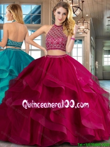 Wonderful Two Piece Tulle Fuchsia Quinceanera Dress with Beading and Ruffles