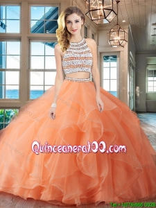 Affordable Beaded Bodice and Ruffled Orange Quinceanera Dress with Brush Train