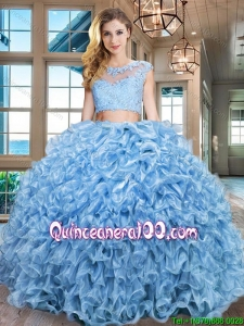 Cheap Two Piece Ruffled and Beaded Zipper Up Quinceanera Gown in Baby Blue