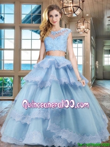 Classical Lacework and Ruffled Layers Light Blue Quinceanera Dress with Cap Sleeves