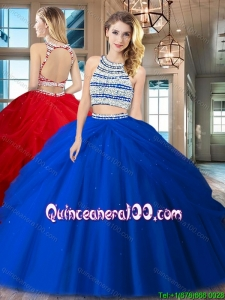 Designer Two Piece Open Back Royal Blue Quinceanera Dress with Beading