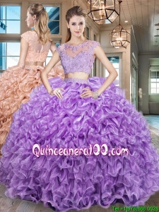 Elegant See Through Scoop Cap Sleeves Zipper Up Organza Quinceanera Gown