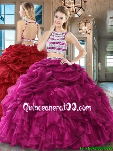 Elegant Two Piece Beaded Bodice Quinceanera Dress with Pick Ups and Ruffles