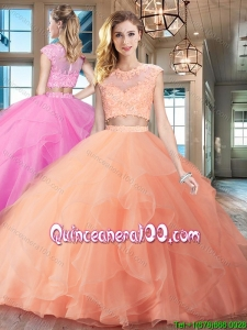 Exquisite Zipper Up Ruffled and Applique Quinceanera Dress with Brush Train
