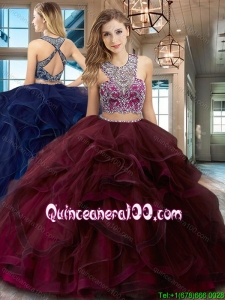 Gorgeous Brush Train Burgundy Quinceanera Dress with Ruffles and Beading