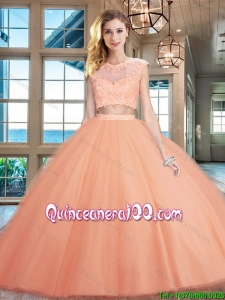 Gorgeous Two Piece Puffy Skirt Applique Tulle Quinceanera Dress in Peach