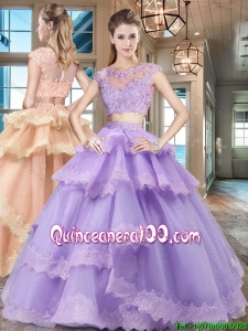 Lovely Tulle Lavender Quinceanera Dress with Ruffled Layers and Lace Appliques