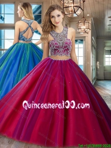 Luxurious Two Piece Beaded Bodice Criss Cross Quinceanera Dress in Tulle